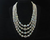 Reserved for V do not buy Vintage 4 Strand AB Crystal Bead Necklace 1960s Wedding