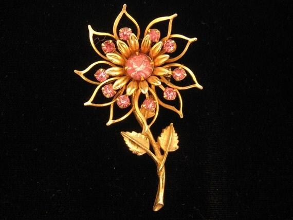 Vintage Large Pink Rhinestone Flower Pin Brooch 1950s