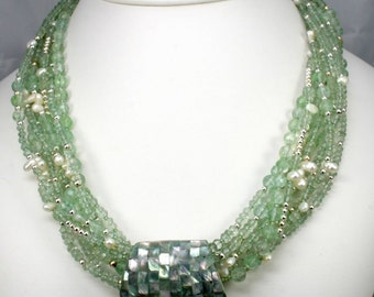 Green Amethyst and Pearl Necklace