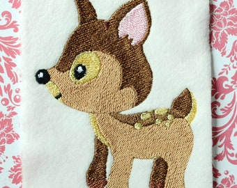 Fawn Embroidery Design, INSTANT DIGITAL DOWNLOAD, Woodland Animals for Machine Embroidery 4x4