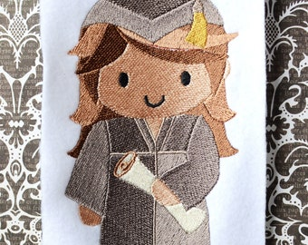Girl Graduate, INSTANT DIGITAL DOWNLOAD, Graduation Embroidery Design for Machine Embroidery 5x7