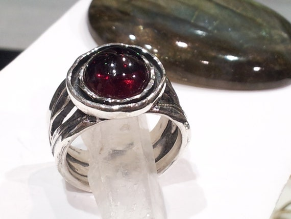 Hand made 925 Sterling silver GARNET Ring