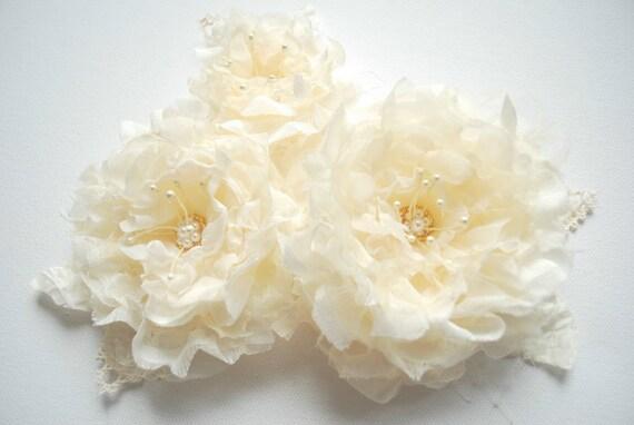 Ivory-cream-champagne romantic roses-Vintage Weddings Bridal Accessories Hair-Bride,bridesmaid-Fascinator,corsage,sash.