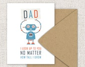 Robot Fathers Day Card - For Dad, Robot Geekery - Fathers Day Quote, Single Folded Greeting Card - Navy Blue, Red, Orange