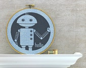 Robot Embroidery Hoop Art - Fabric Wall Art, Hello, Wave, Techie,Futuristic - Navy Blue, Grey, Gray, Quarry (HRB1)