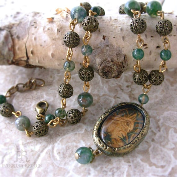 Hare in the Long Grass  - Moss Agate  Pictorial Necklace