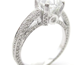 Asscher cut antique style diamond engagement ring A19-A