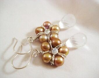 Crystal Droplet Flower Earrings