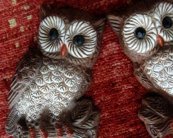 Vintage Owl Wall Hanging Wall Art Brown White Set of Two 1970s