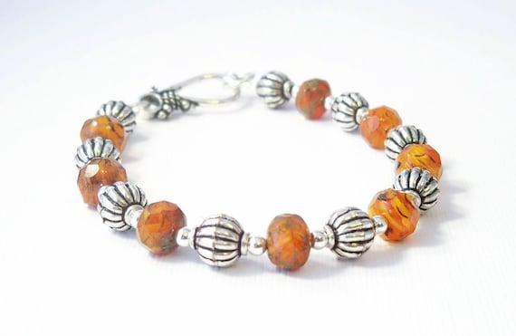 Pumpkin Colored Glass Beaded Bracelet, Czech Glass Beaded Bracelet, Handcrafted Jewelry