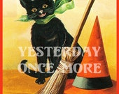Clapsaddle Black Cat w/ Broom, Witch Hat & Moon