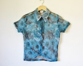 90s Blue Sheer Collared Sunflower Roses Daisy Print Zip Up Blouse