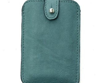 Case for iPhone 4s,4 iPhone Wallet case Sleeve Aqua Green Distressed Leather