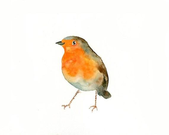 ROBIN by DIMDI Original watercolor painting 10X8inch