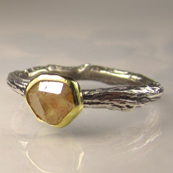 Rose Cut Golden Yellow Diamond Twig Engagement Ring - 18k Gold and Sterling Silver