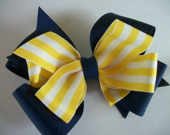 Toddler Hair Bow, Yellow Stripe  and Navy  Big Double Boutique Hair Bow. Navy and Yellow Baby Bow. MTM Navy, Yellow and White Stripe Bow