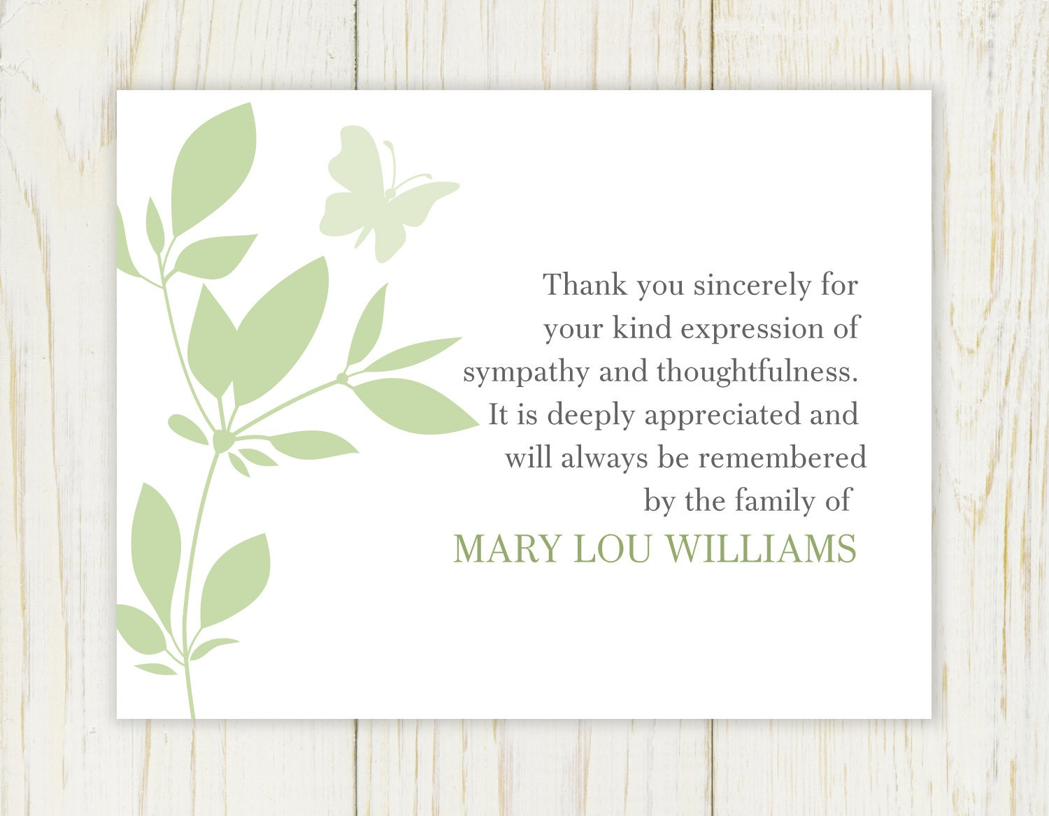 Thank You Note For Funeral
