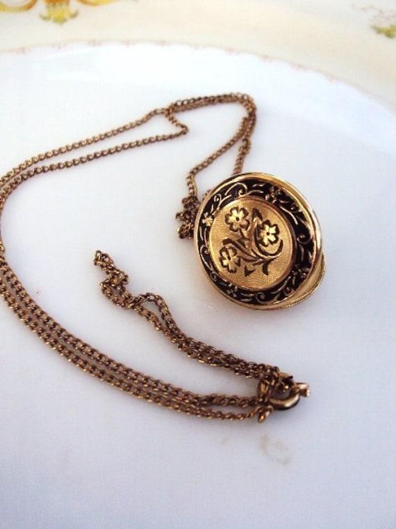 Vintage Gold Filled Locket Etched with Black Enamel 1/20 12 Kt