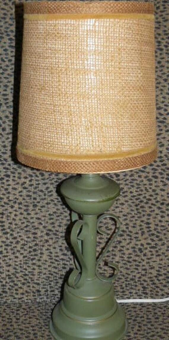 "Great Mid Century Green Metal LAMP Original Shade 18"" Tall Nice Design"
