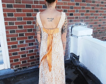 CLEARANCE Vintage 1960s Lace Evening Gown Spectacular Copper Lacy Maxi Sixties Party Dress Xs/S