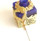 Vintage Perfume  Bottle Stopper Ormolu Cobalt Blue Ornate Gilt Gold Retro 1970