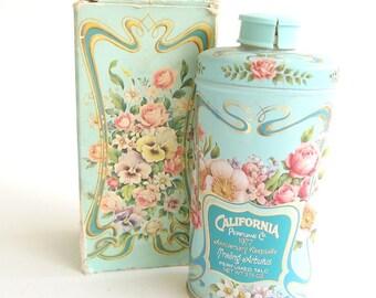 Vintage Perfume Talc Powder Trailing Arbutus Avon California Perfume Original Box and Tin