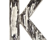 50% Off, Wall Decor Letter K, Marble, Vintage Inspired Office Decor