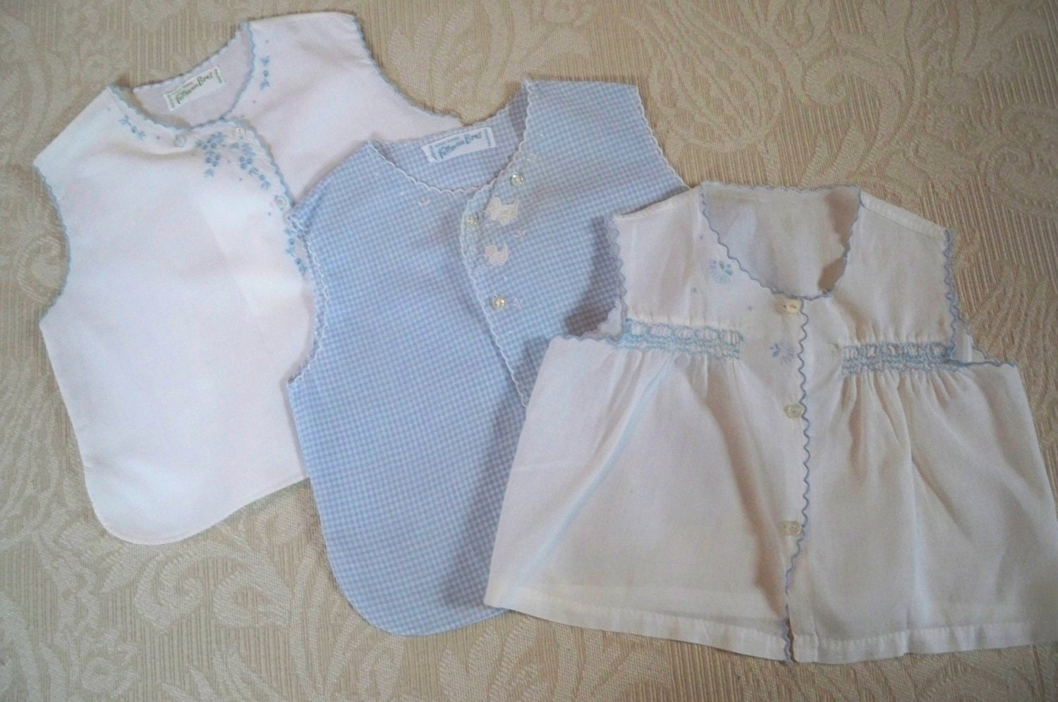 Vintage Set Of Three Infant Diaper Shirts Feltman Brothers
