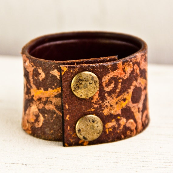Women's Leather Cuff Bracelet February Valentines Gift Etsy Sale