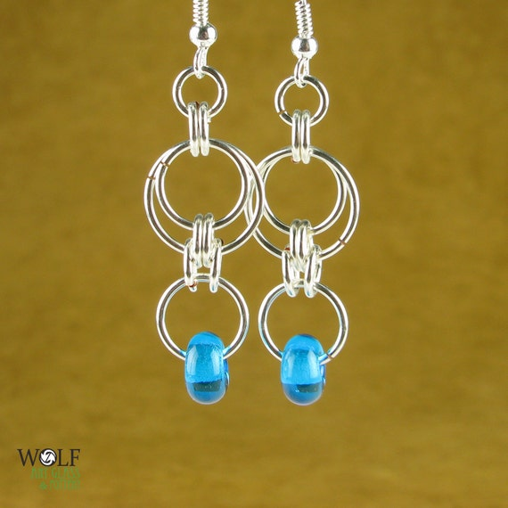Mediterranean Aqua Blue Lampwork Glass Bead Chainmaille Eclipse Silver Plated Double Drop Earrings