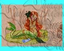 s368 Vintage Mermaid Children's Book illustration Mermaid Print Quilt Fabric Block.