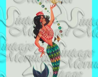 s369 Vintage Retro Mermaid Print Fabric Quilt Block Applique for Quilts