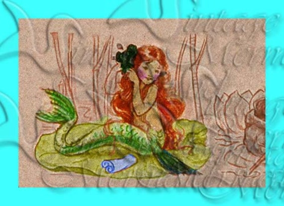 Items similar to s368 vintage mermaid children 39 s book for Vintage childrens fabric prints