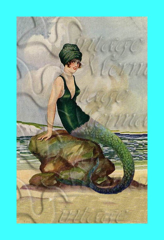 S419 Vintage Mermaid Fabric 1920 S Circa Mermaid Cotton