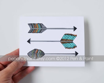 Set of FOUR Arrow Folded Note Cards, Arrows, Native American, Tribal, Stationery, Hand Drawn, Illustration, Feathers
