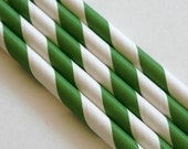 15 Grass Green Stripe Paper Straws - Perfect for Weddings - Parties - Favors--Free Editable DIY Tags PDF
