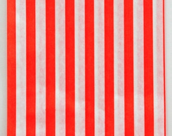 Set of 100 - Traditional Sweet Shop Red Stripe Paper Bags - 7 x 9
