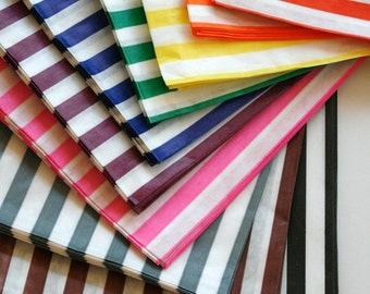 Set of 150 - Traditional Sweet Shop Candy Stripe Paper Bag Variety - Your Color Choice - 5 x 7