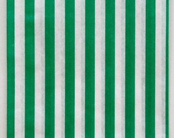 Set of 50 - Traditional Sweet Shop Green Candy Stripe Paper Bags - 5 x 7