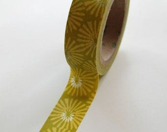 Washi Tape - 15mm - Chartreuse Floral Mumm Design - Deco Paper Tape No. 371