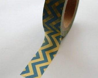 Washi Tape - 15mm - Blue and Yellow Chevron - Deco Paper Tape No. 390