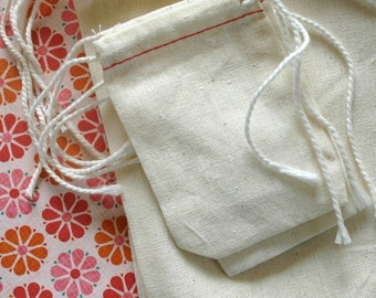 BLANK Cotton Cloth Drawstring Bags - 5 x 8 Inches - for Stamping - Wedding Favors, Gift Bags, Packaging - set of 75