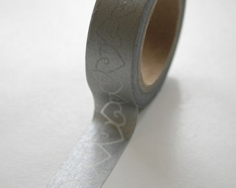 Washi Tape - 15mm - Metallic Silver Heart Outline - Deco Paper Tape No. 486