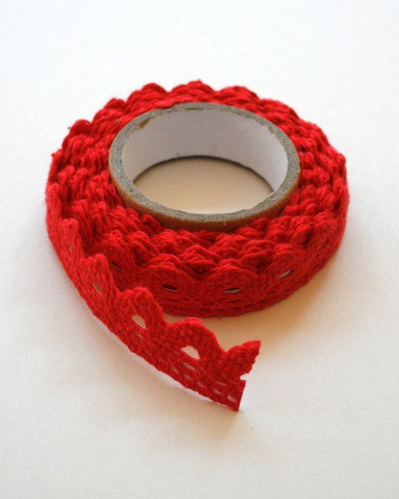Red Lace Fabric Tape - Crochet - Adhesive
