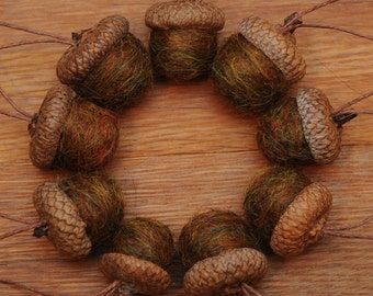 Felted Wool Acorns in Fallen Leaves,  also available as Ornaments