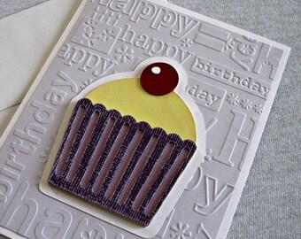 Cupcake Birthday Card in Lilac