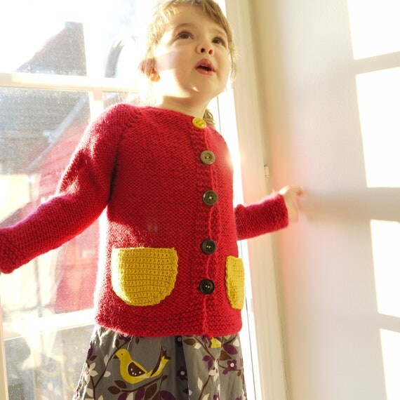 Hand Knitted Children Sweater - Chunky Raspberry Cardigan - accent yellow pocket - seamless knit - OOAK