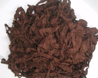 Chocolate BROWN Shabby RIBBON crinkled vintage seam binding