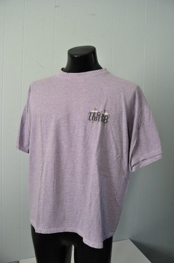 Vintage Tempo Libero Italian Tee Tee Venice Super Soft n Thin Heather Purple TShirt LARGE XL