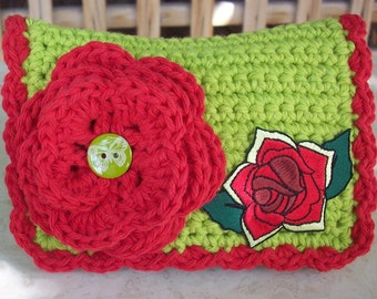 HALF PRICE CLEARANCE  ~  Crocheted Purse  ~  Lime Green and Red with Appliqued Rose Crocheted Cotton Little Bit Purse